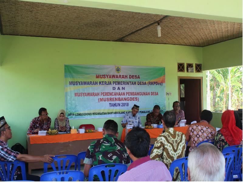Musyawarah Desa Penetapan Rencana Kerja Pemerintah Desa Lenggerong Tahun 2018