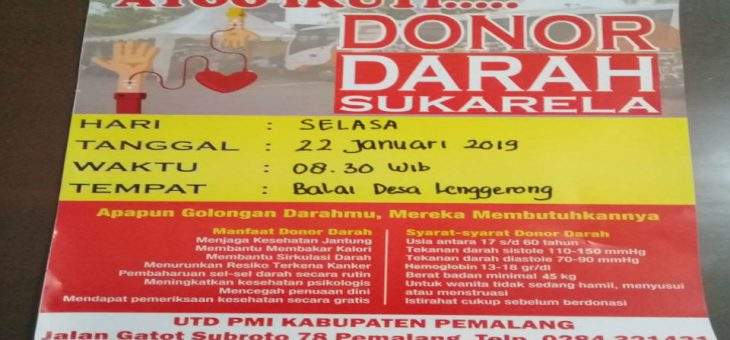 Ayo Ikuti Donor Darah Sukarela Di Balai Desa Lenggerong