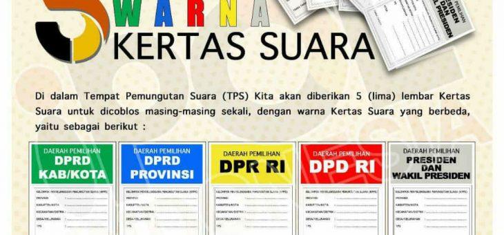 Sebelum ke TPS, Kenali Warna Surat Suara Pemilu 2019
