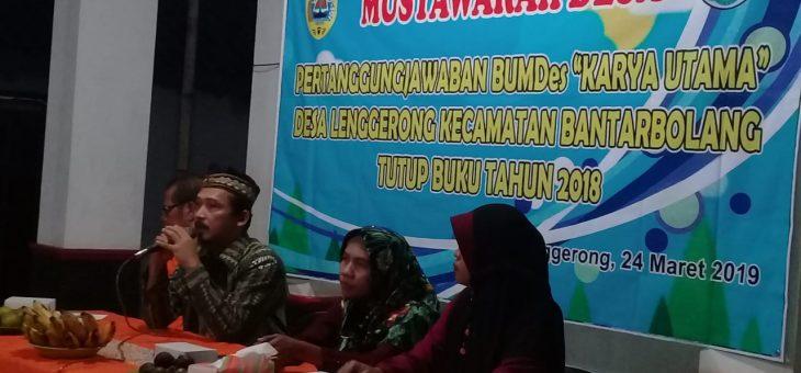 Sukses ! , BUMDesa Karya Utama Laporkan Pertanggungjawaban Tahun 2018